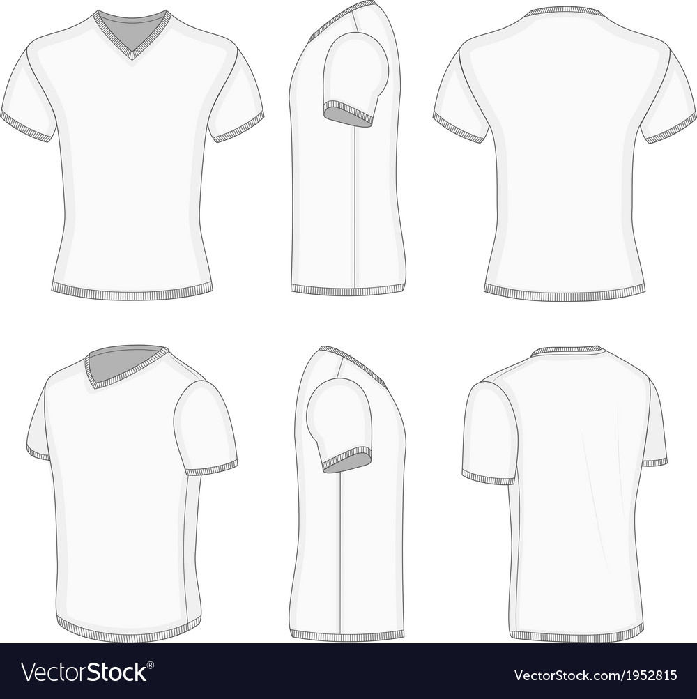 Mens white short sleeve tshirt vneck vector