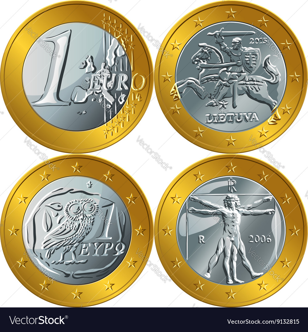 Money gold coin one euro vector