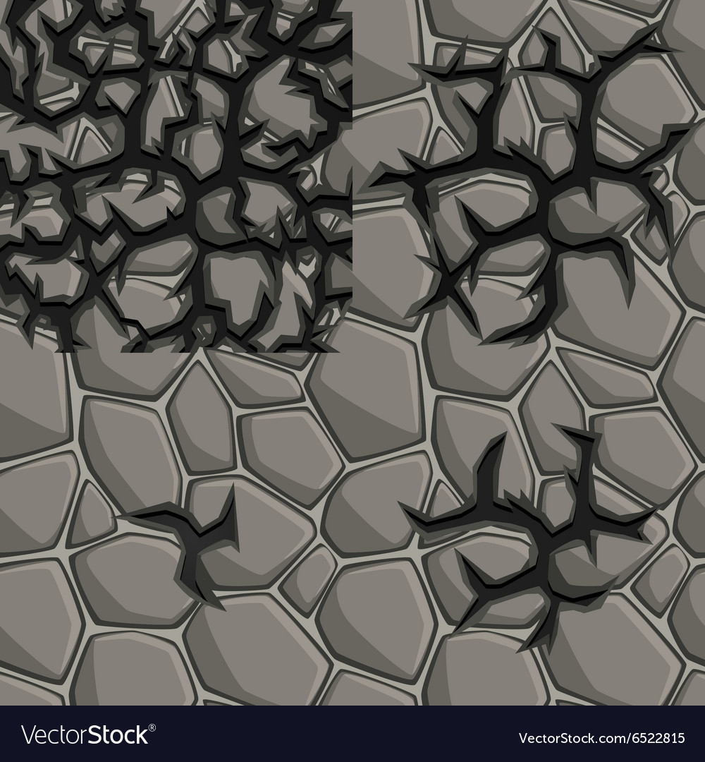 Stone texture with cracks in four stages vector