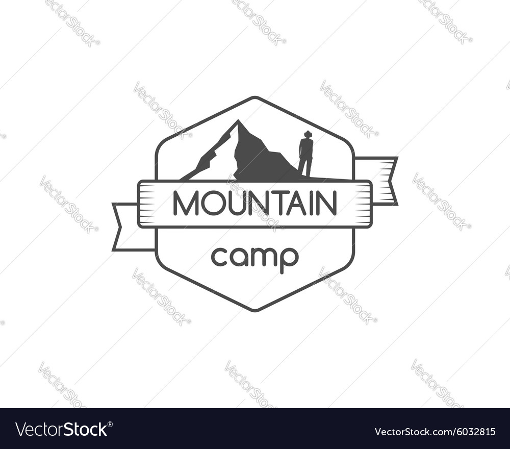 Vintage mountain camping badge outdoor logo vector