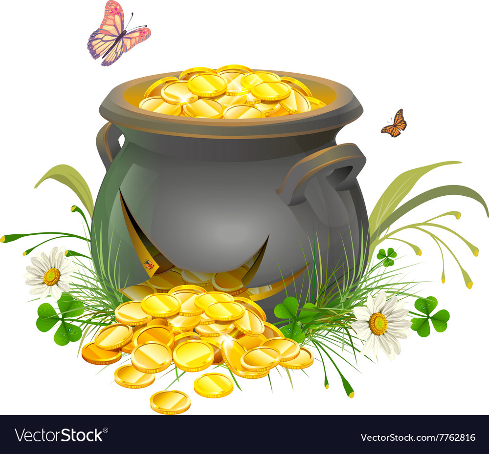 Pot with gold split cracked pot of treasure vector