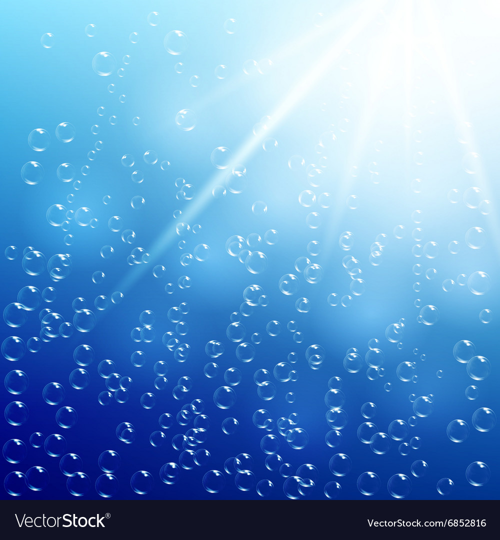 Water background with air bubbles and sunlight vector