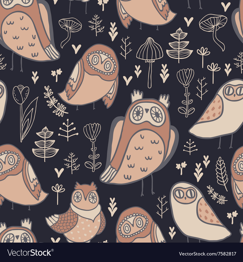 Cute owls florals and mushrooms vector