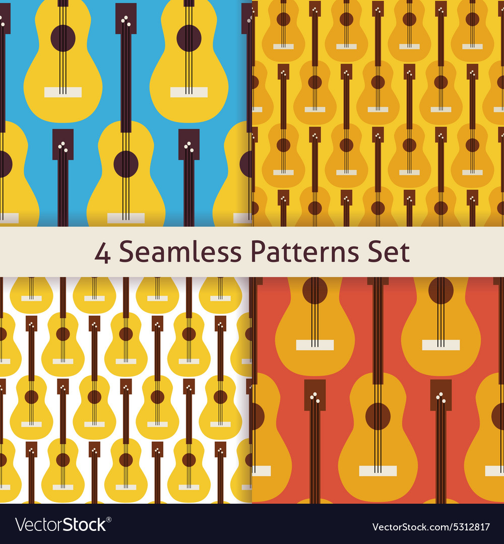 Four flat seamless string music instrument guitar vector