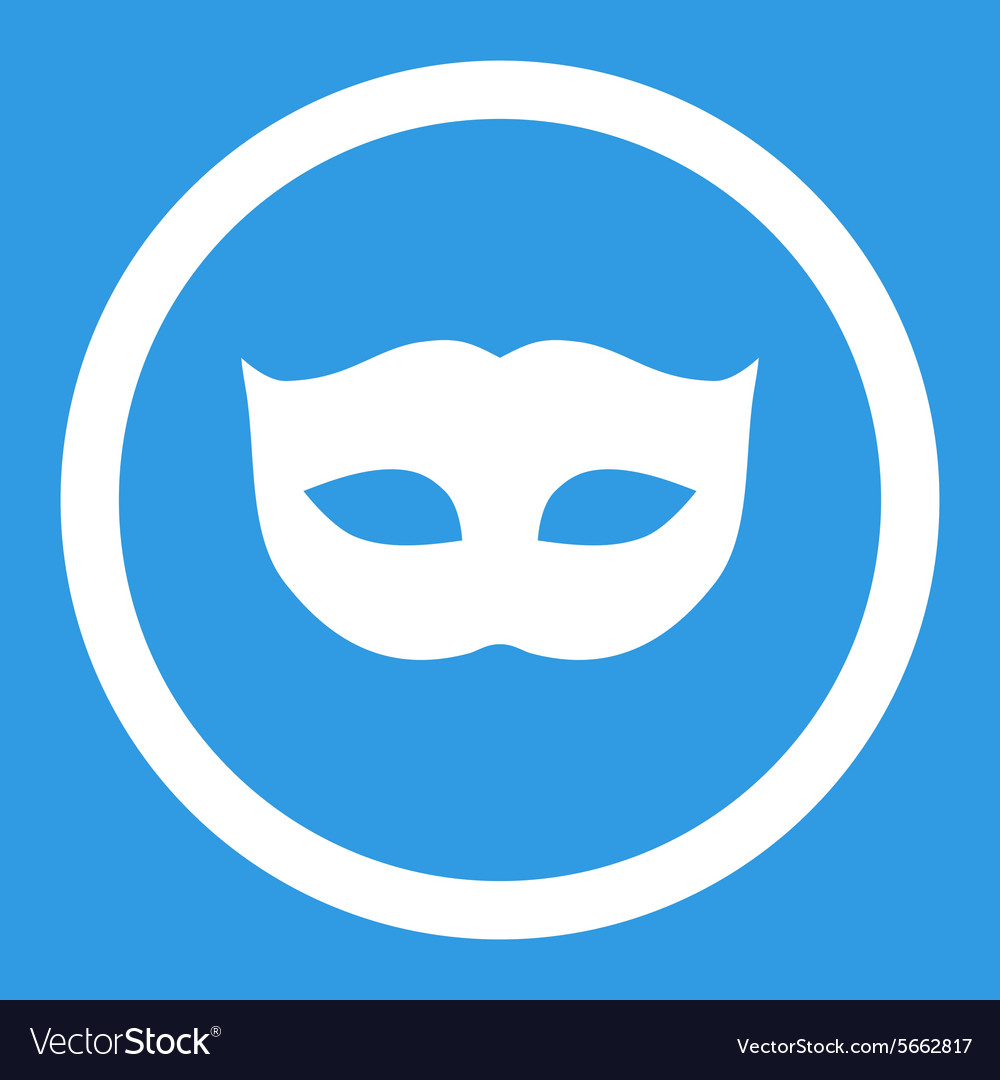 Privacy mask flat white color rounded icon vector