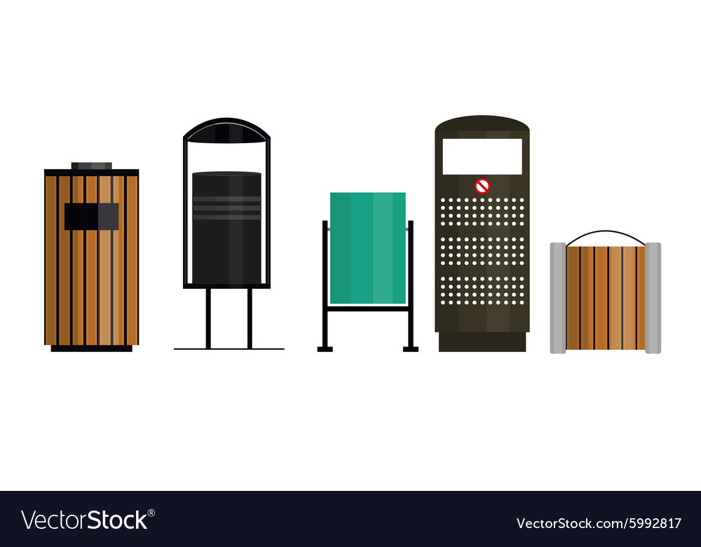 Trashcan set vector
