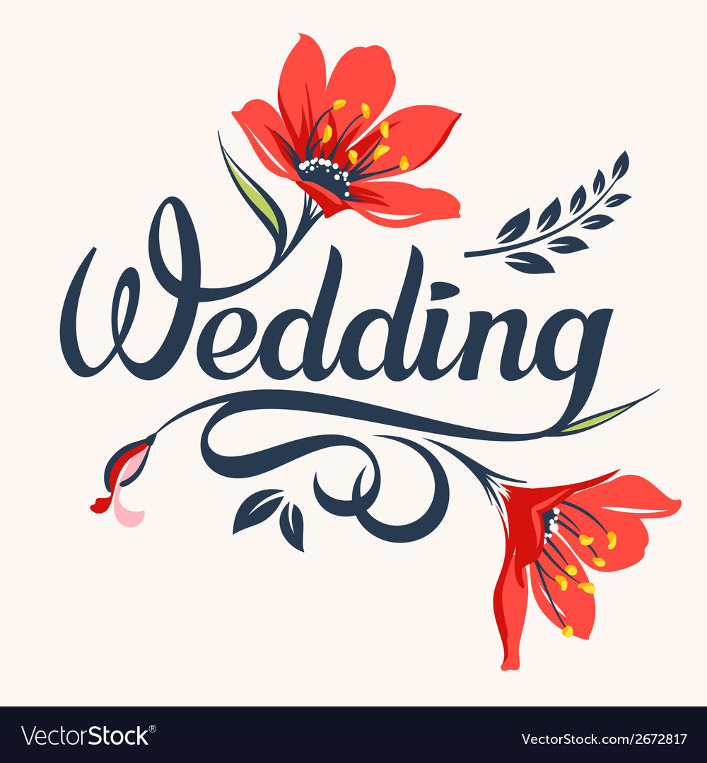 Wedding calligraphic inscription vector