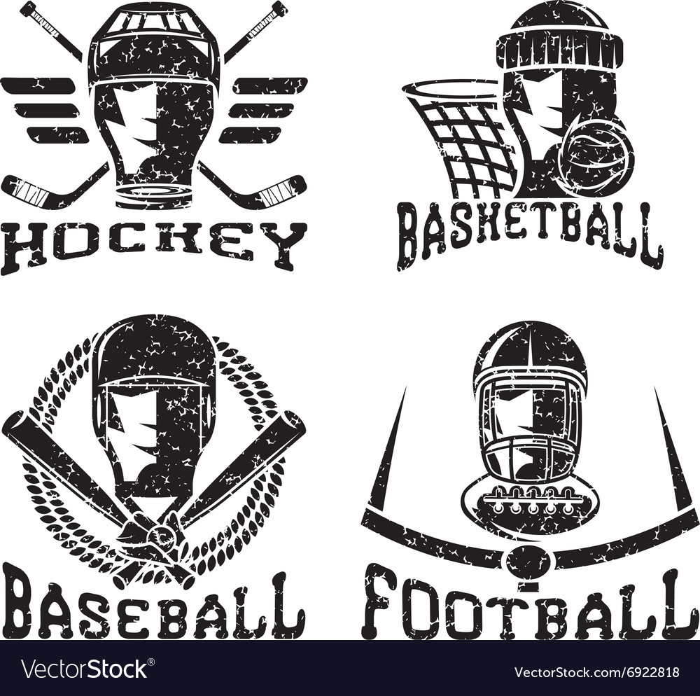 Grunge vintage sport labels set vector