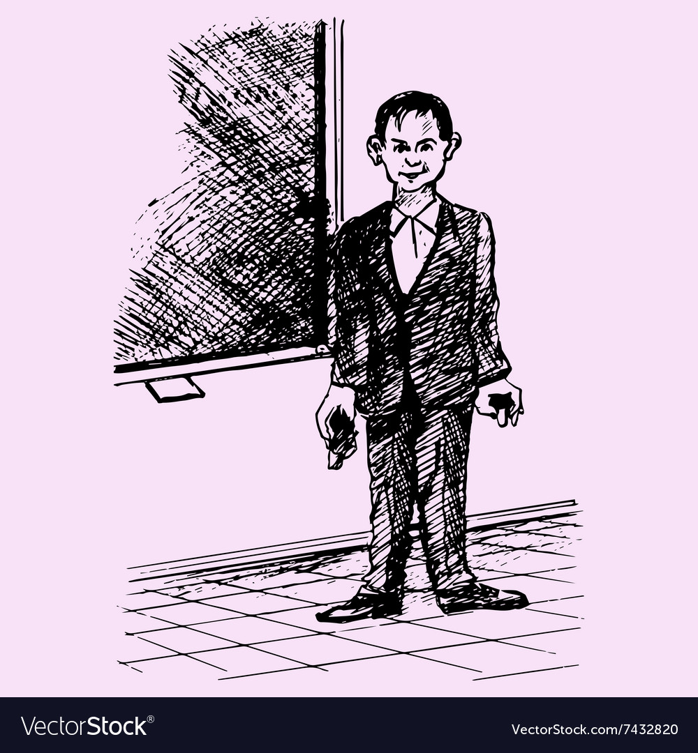 Male teacher standing blackboard school vector