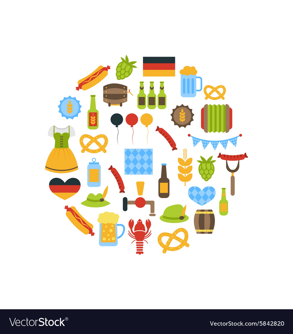 Oktoberfest colorful symbols vector