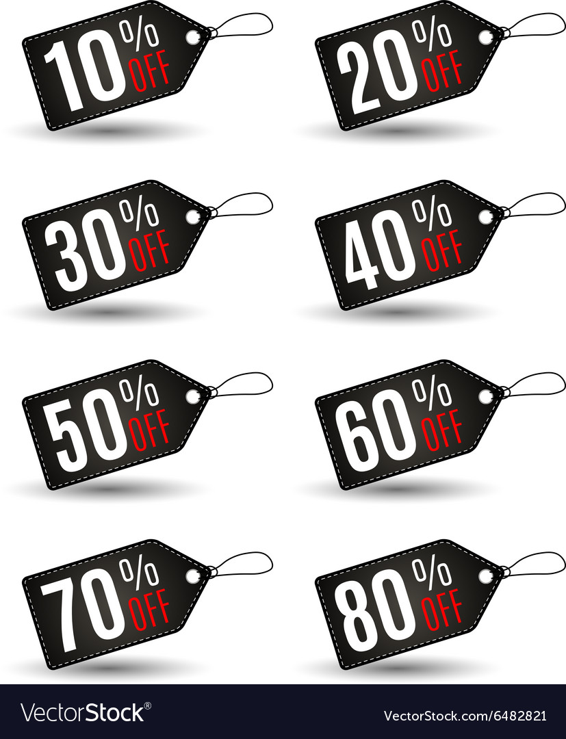 End of year sale savings labels set vector