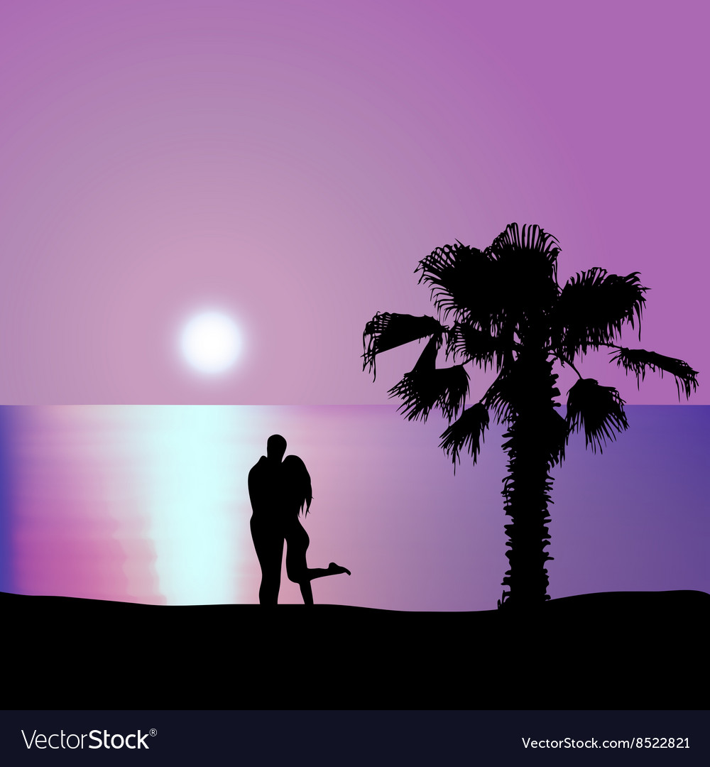 Loving couple on the seashore at night vector