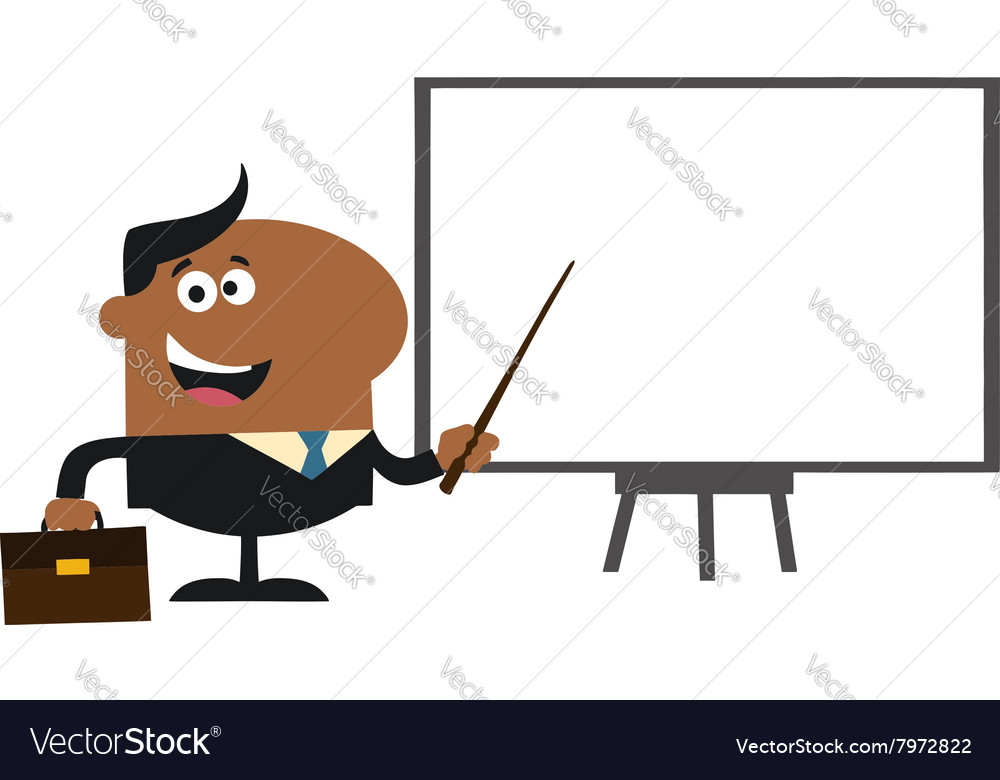 Businessman pointing to a board vector