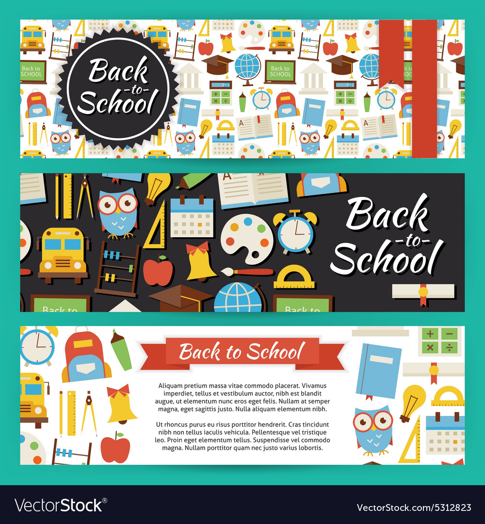 Back to school and education template banners set vector