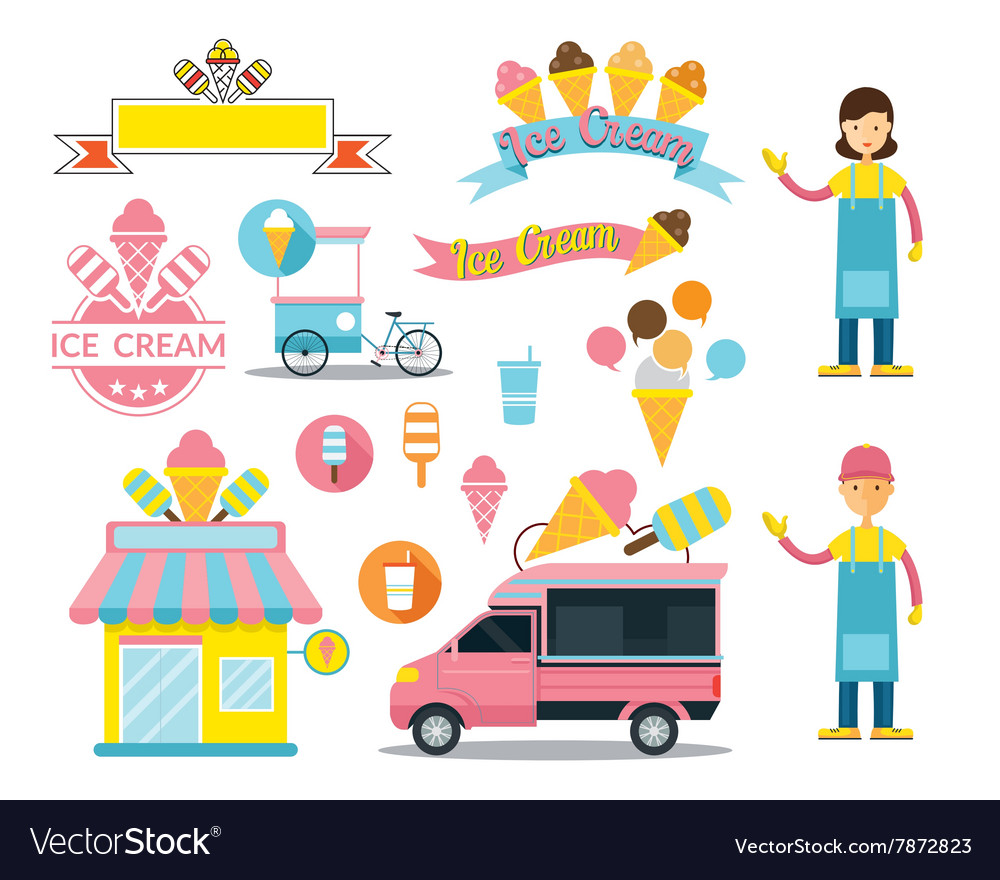 Ice cream shop graphic elements vector
