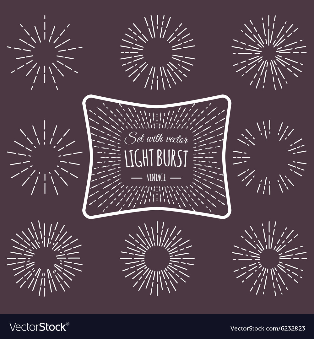 Set with vintage light burst vector