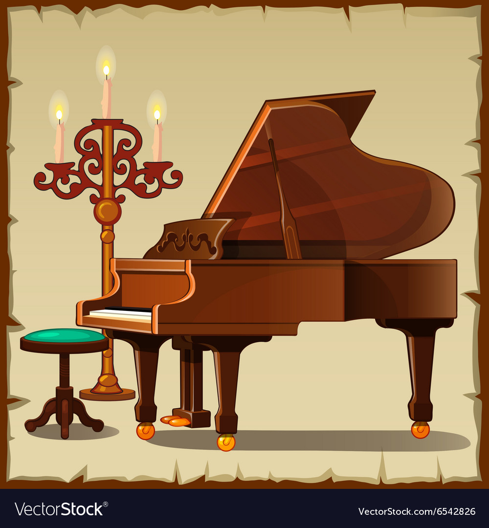 Antique piano with candlestick vector