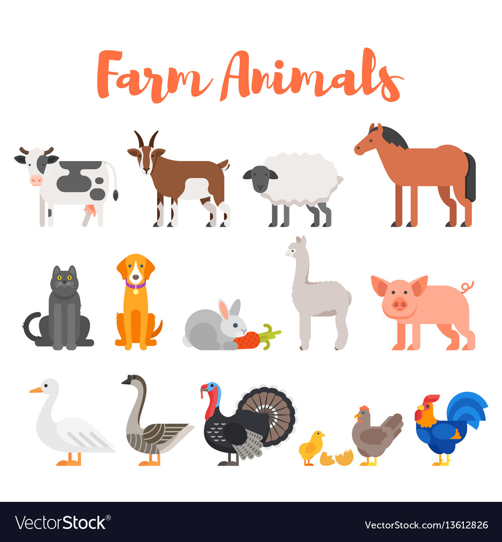Flat style set of farm animals vector