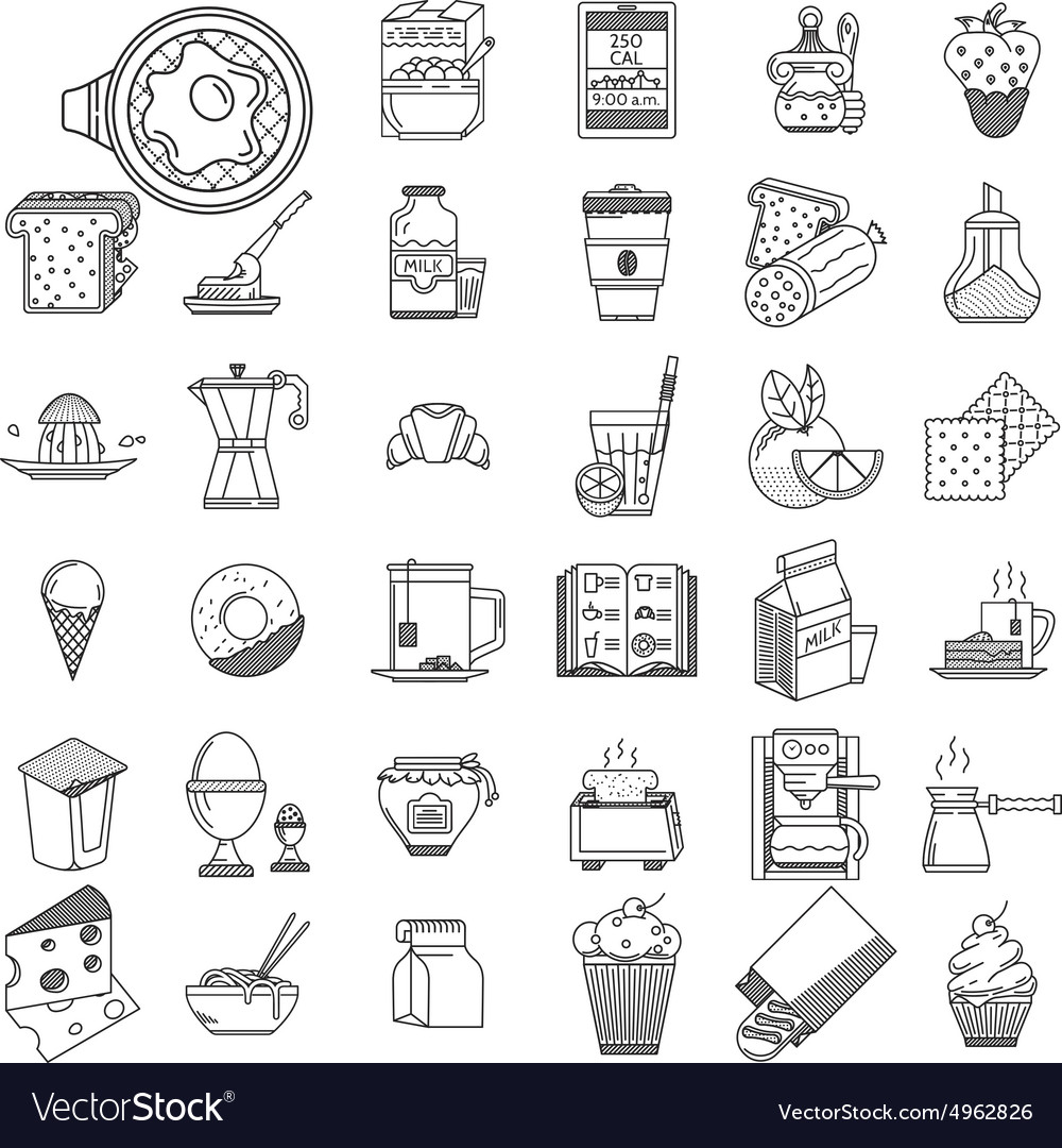 Linear icons collection for food vector