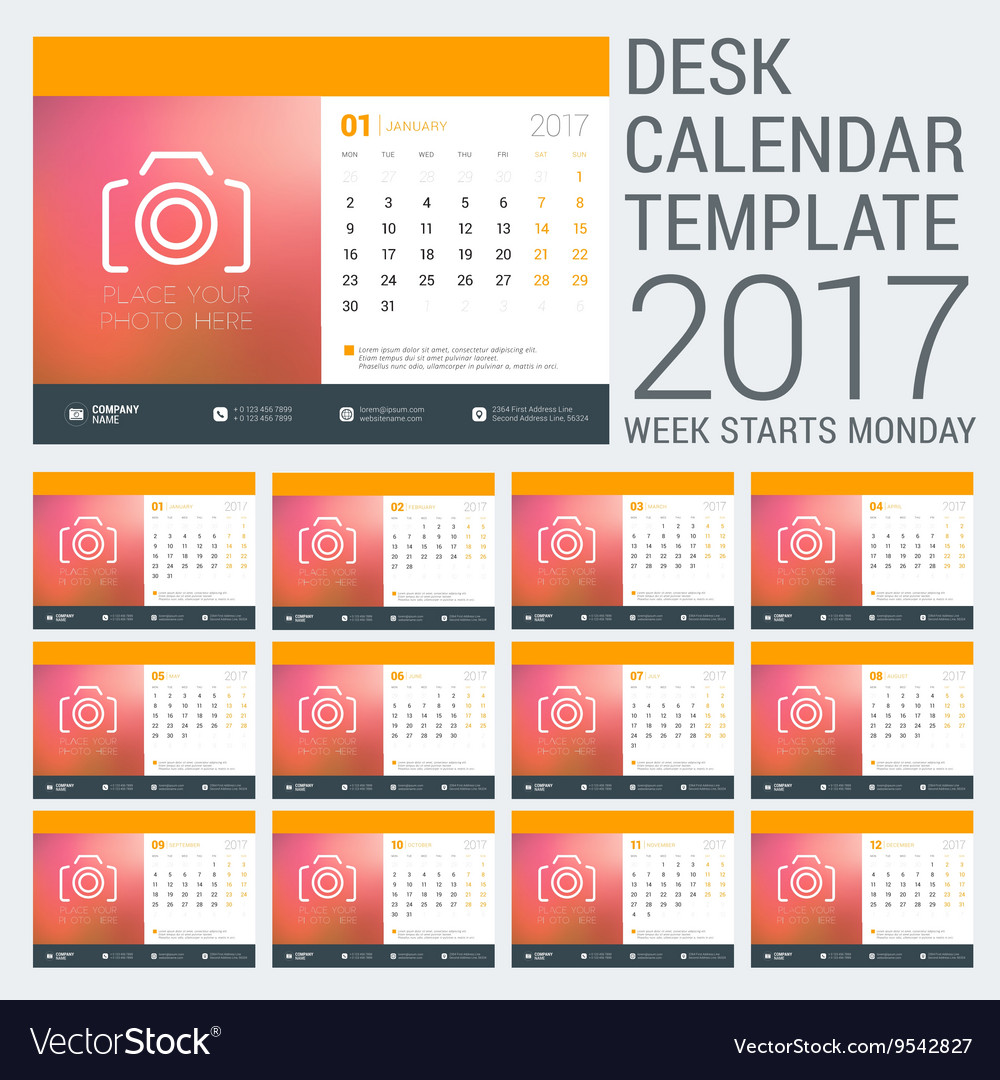 Desk calendar template for 2017 year design vector