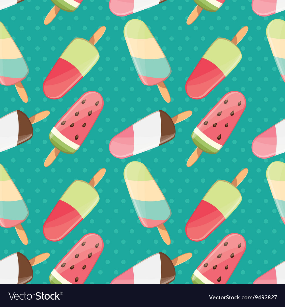 Ice cream seamless pattern summer background vector