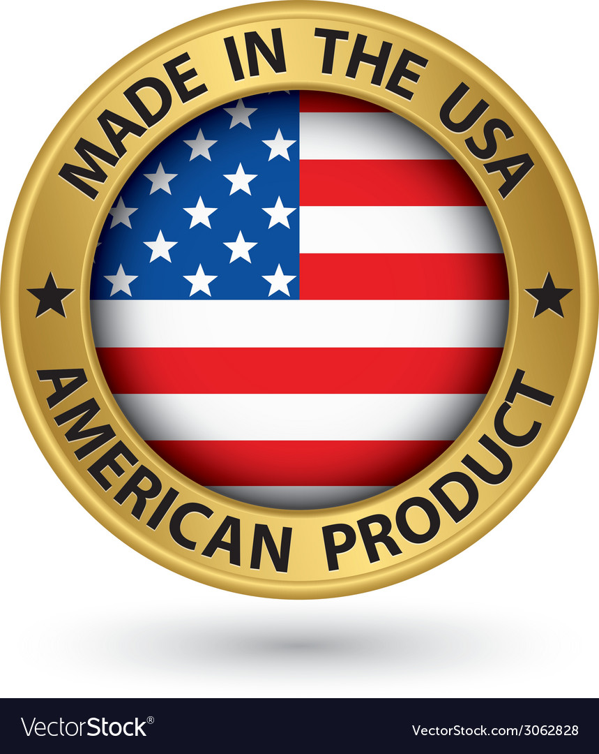 Made in the usa american product gold label with vector