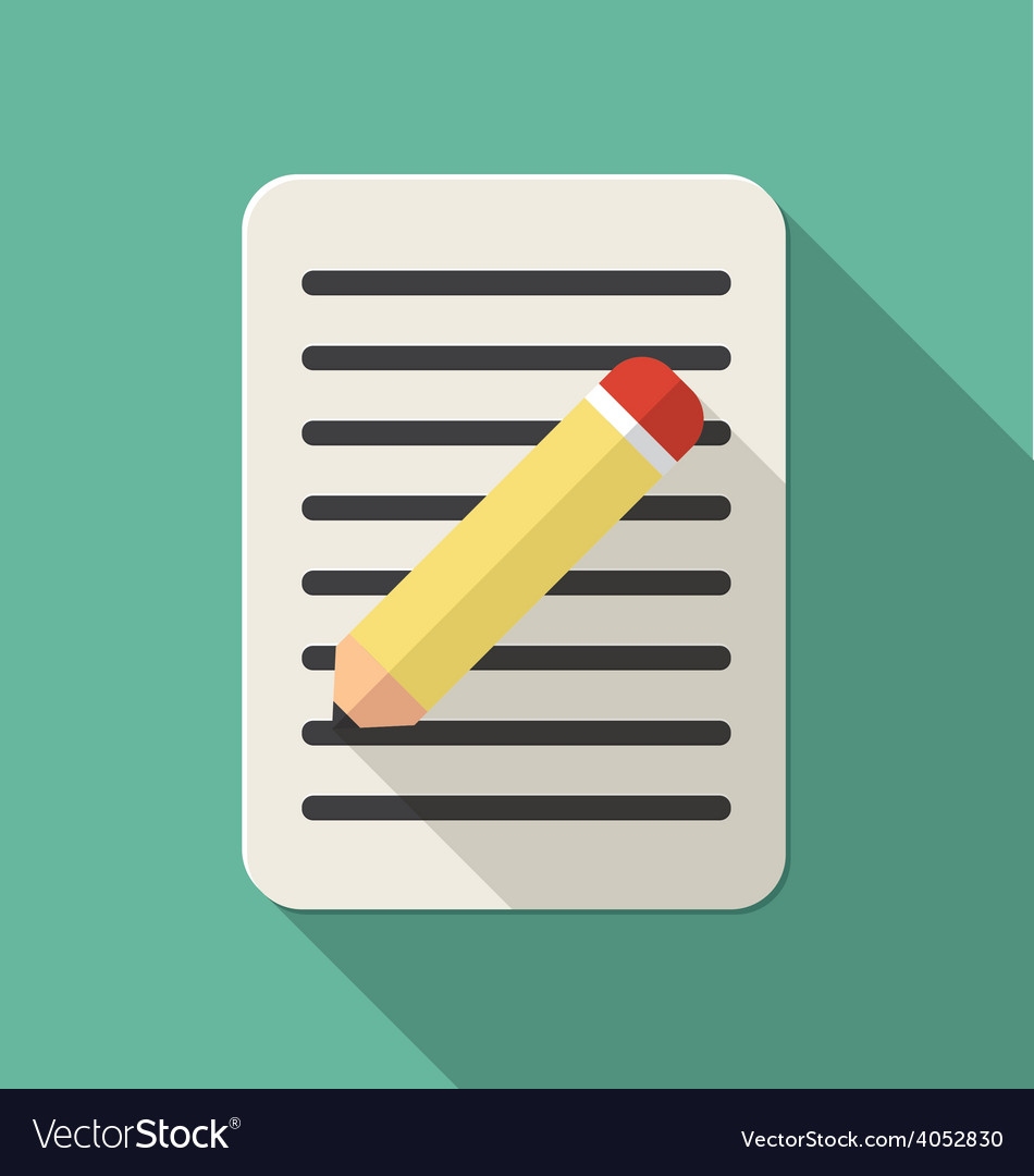 Document flat icon with a pen vector
