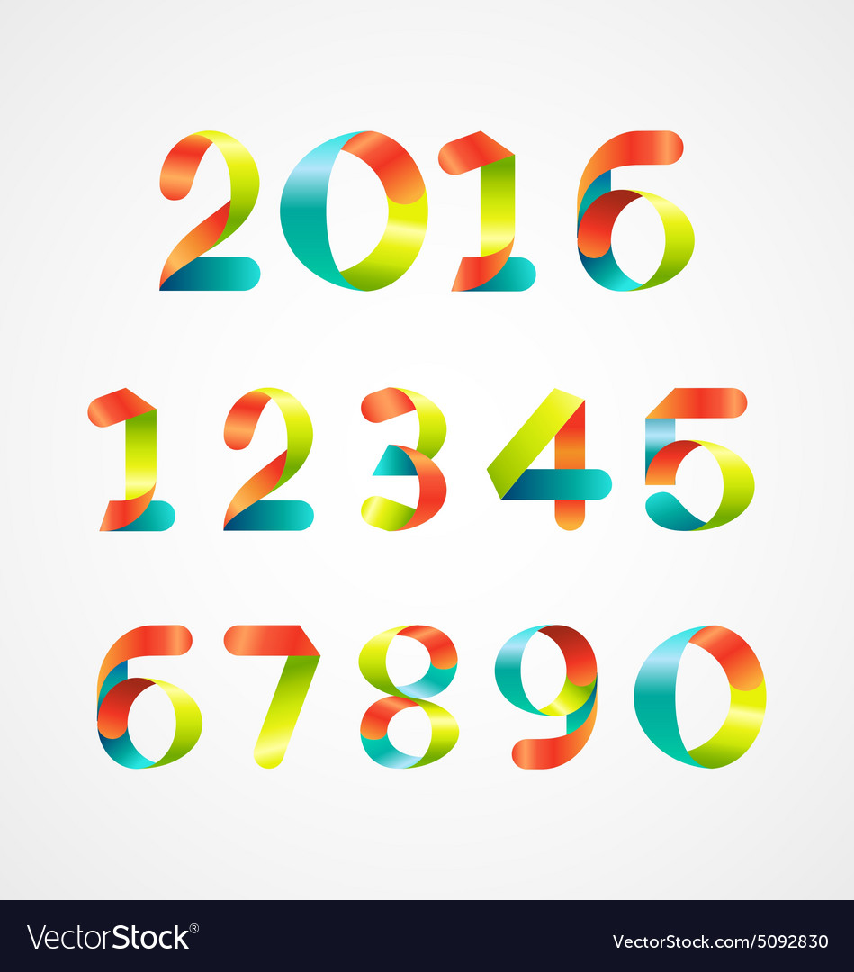 Set of colorful number 09 vector