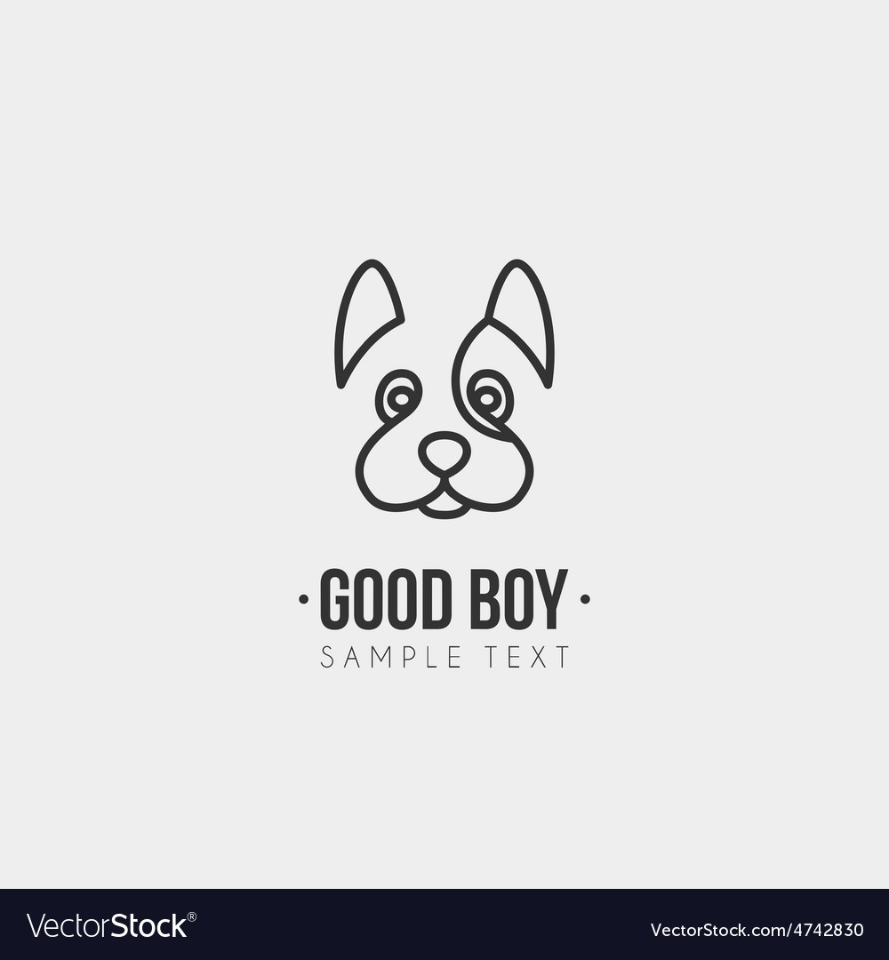 Thin line design template logotype cute dog vector