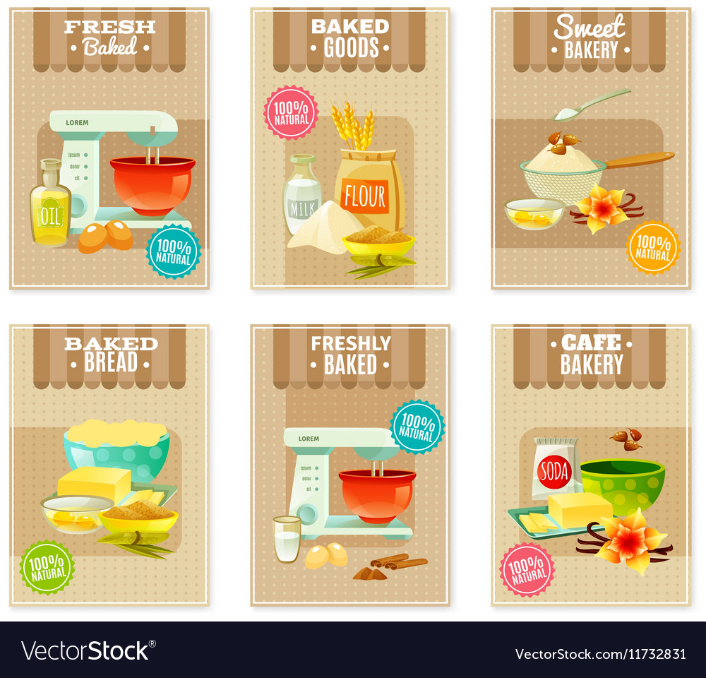 Baking banners and cards vector