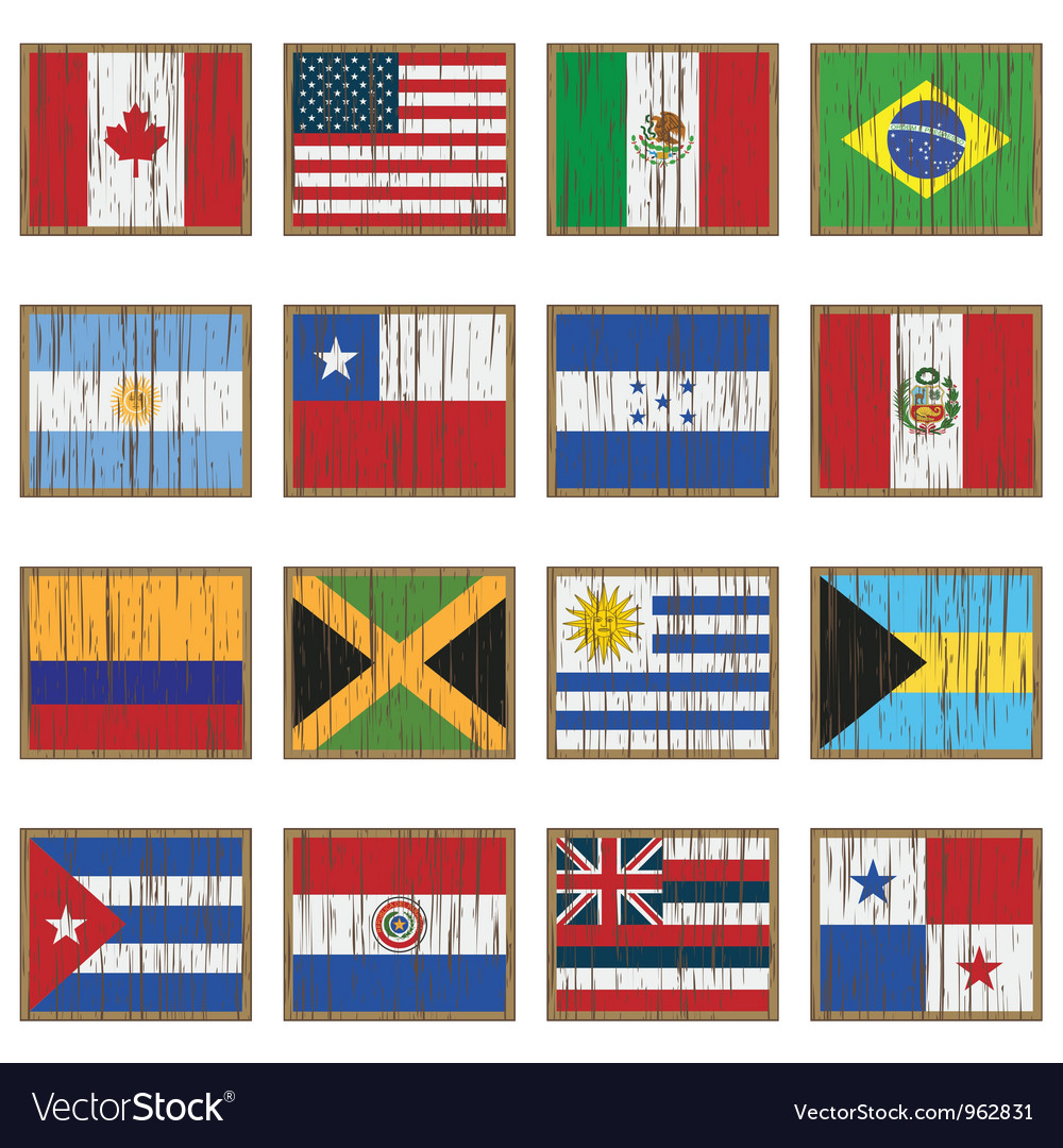 Distressed wooden flags vector
