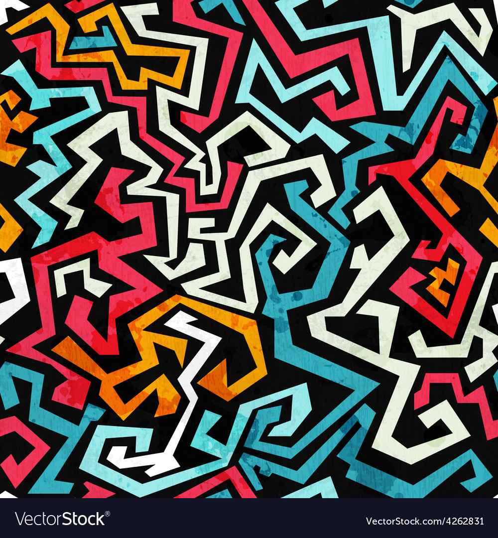 Graffiti curves seamless pattern with grunge vector