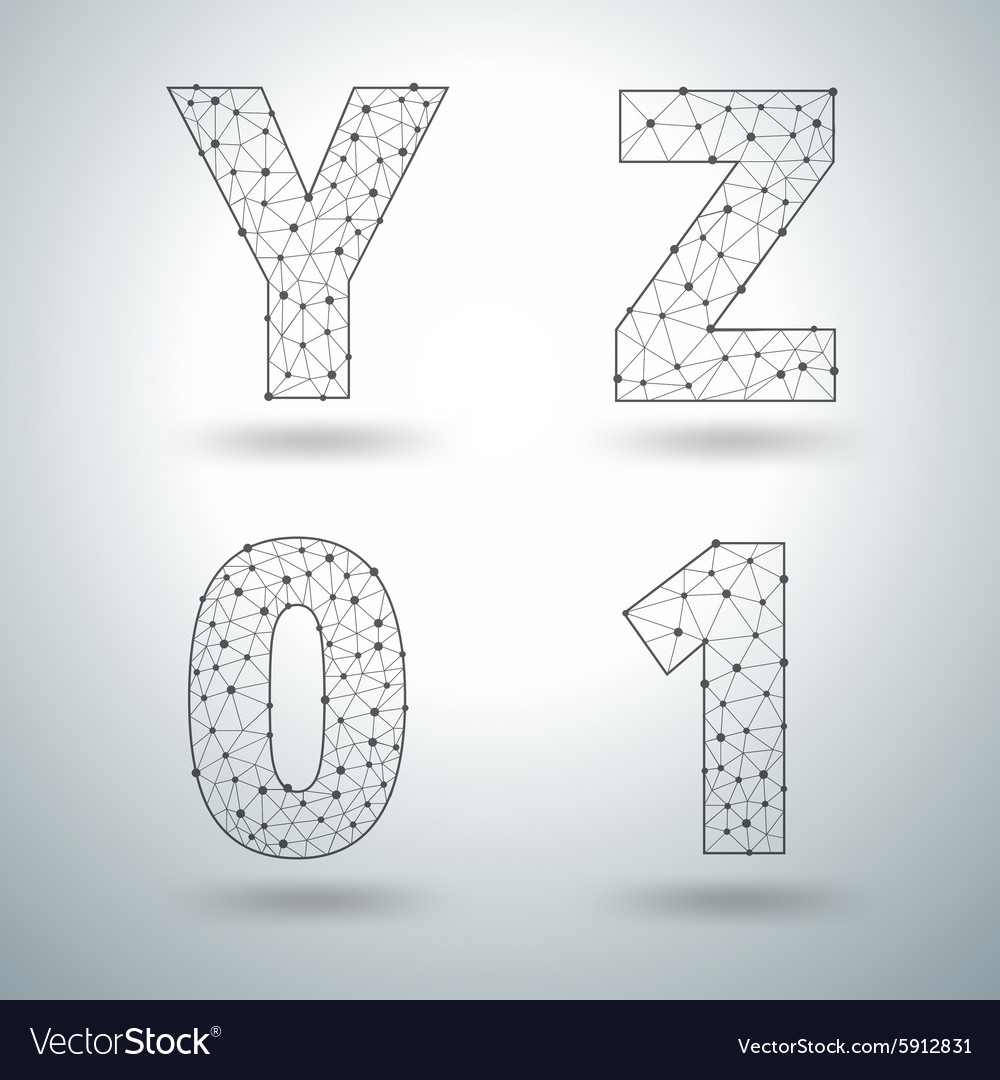 Mesh stylish alphabet letters numbers vector