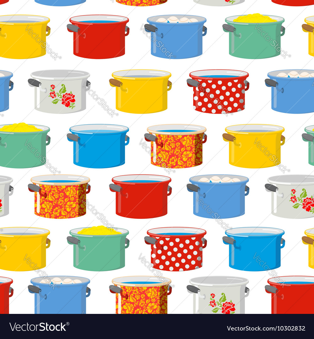 Colored pans seamless pattern for kitchen kitchen vector