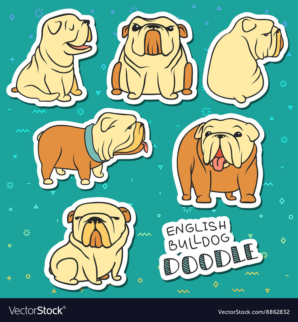 Dogs characters doodle dog funny animals dog vector