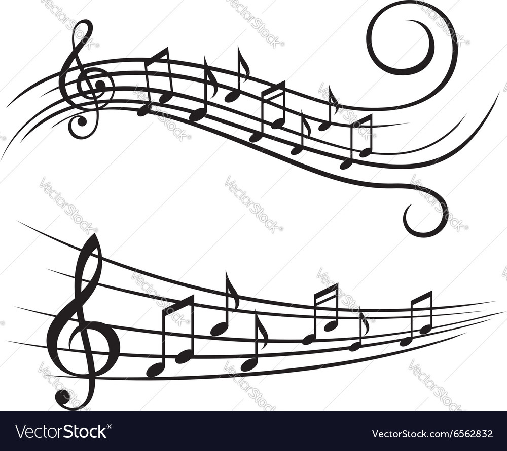Music notes on stave vector