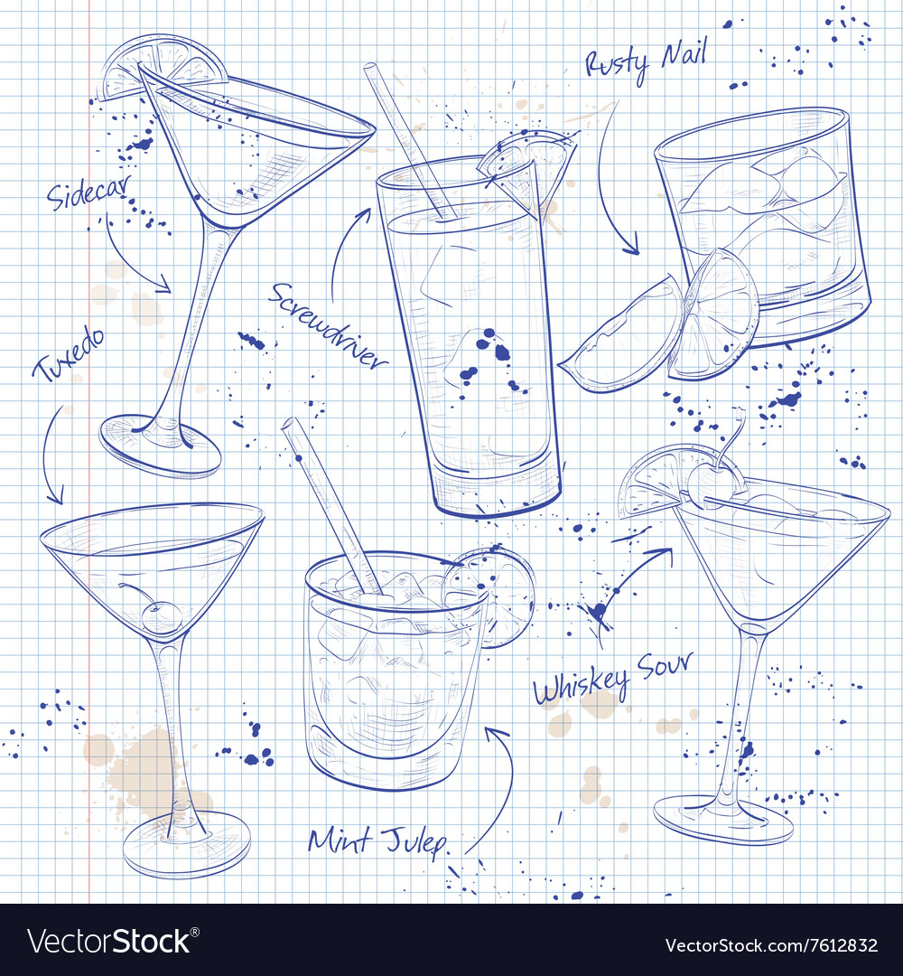 New era coctail set on a notebook page vector