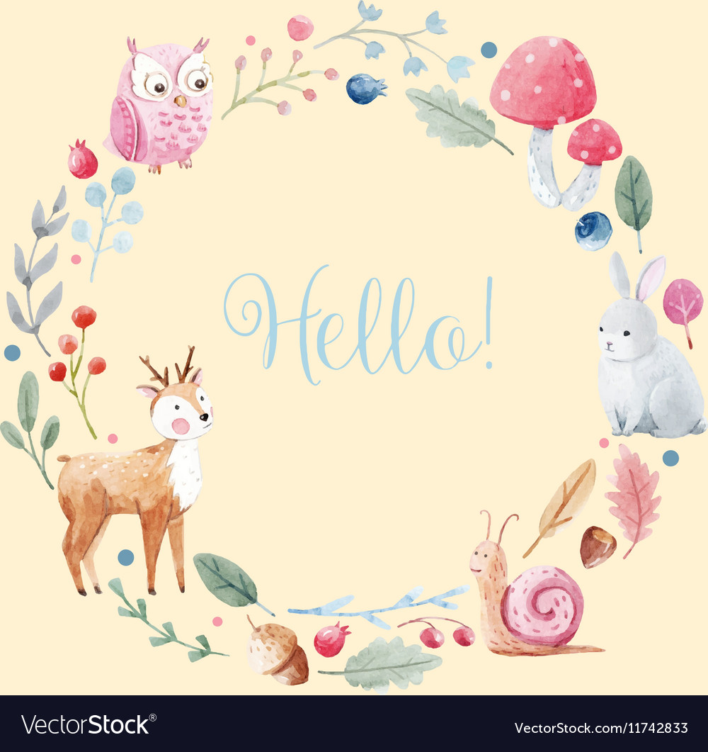 Watercolor floral wreath vector