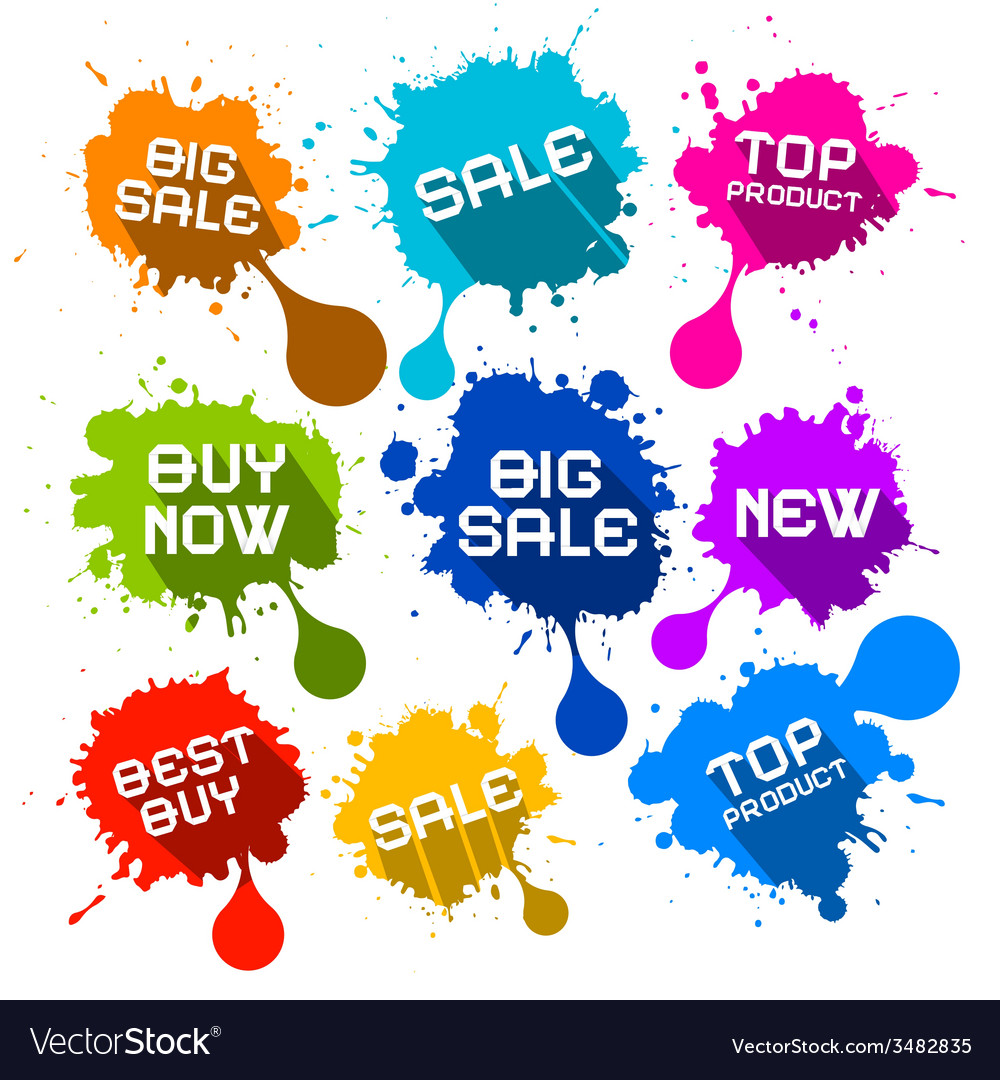 Blots splashes sale icons vector