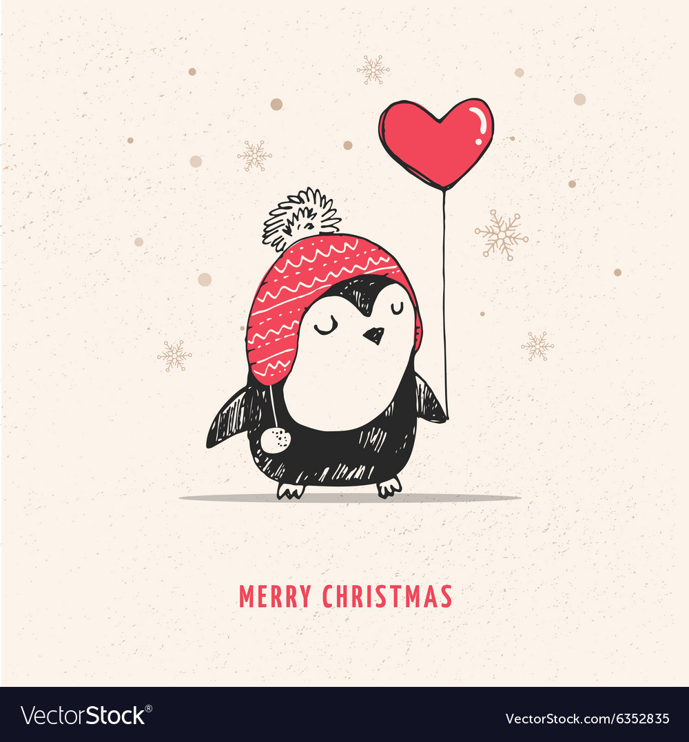 Cute hand drawn penguin with red heart balloon vector