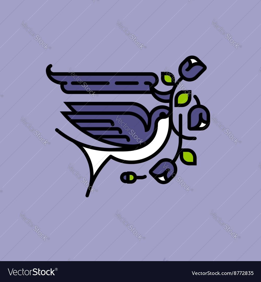 Swallow and flowers old school american tattoo vector