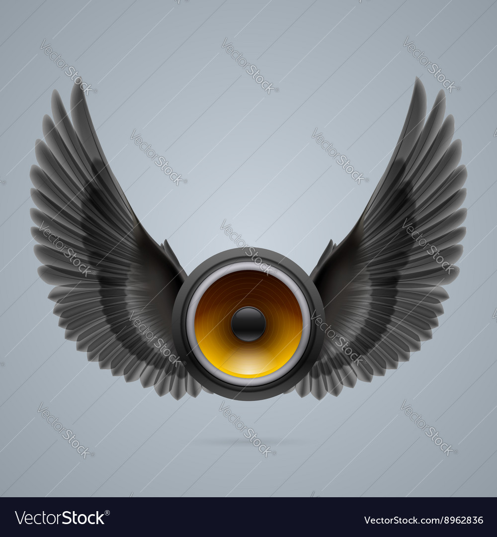 Music speaker with two wings vector