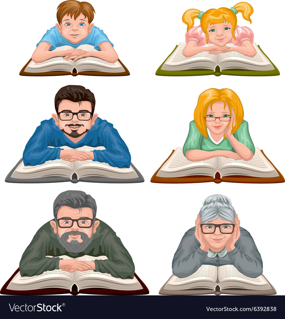 Family reading book set people reading book vector