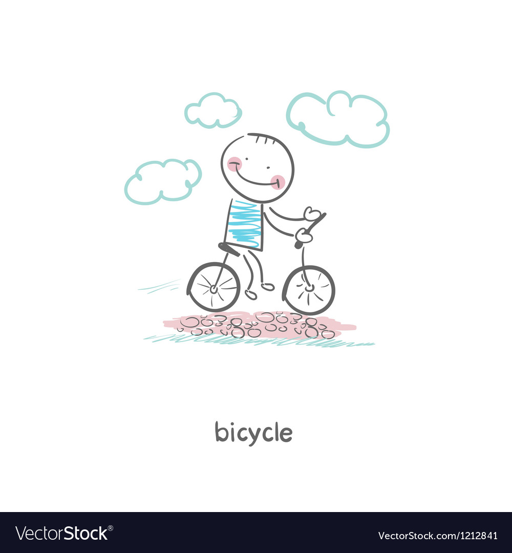 A man rides a bicycle vector