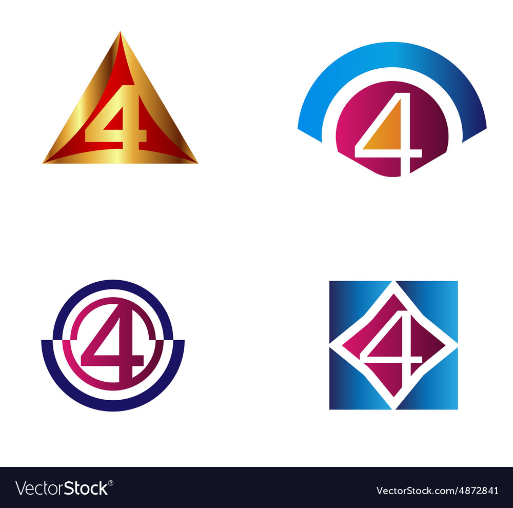 Abstract icons for number 4 logo set vector