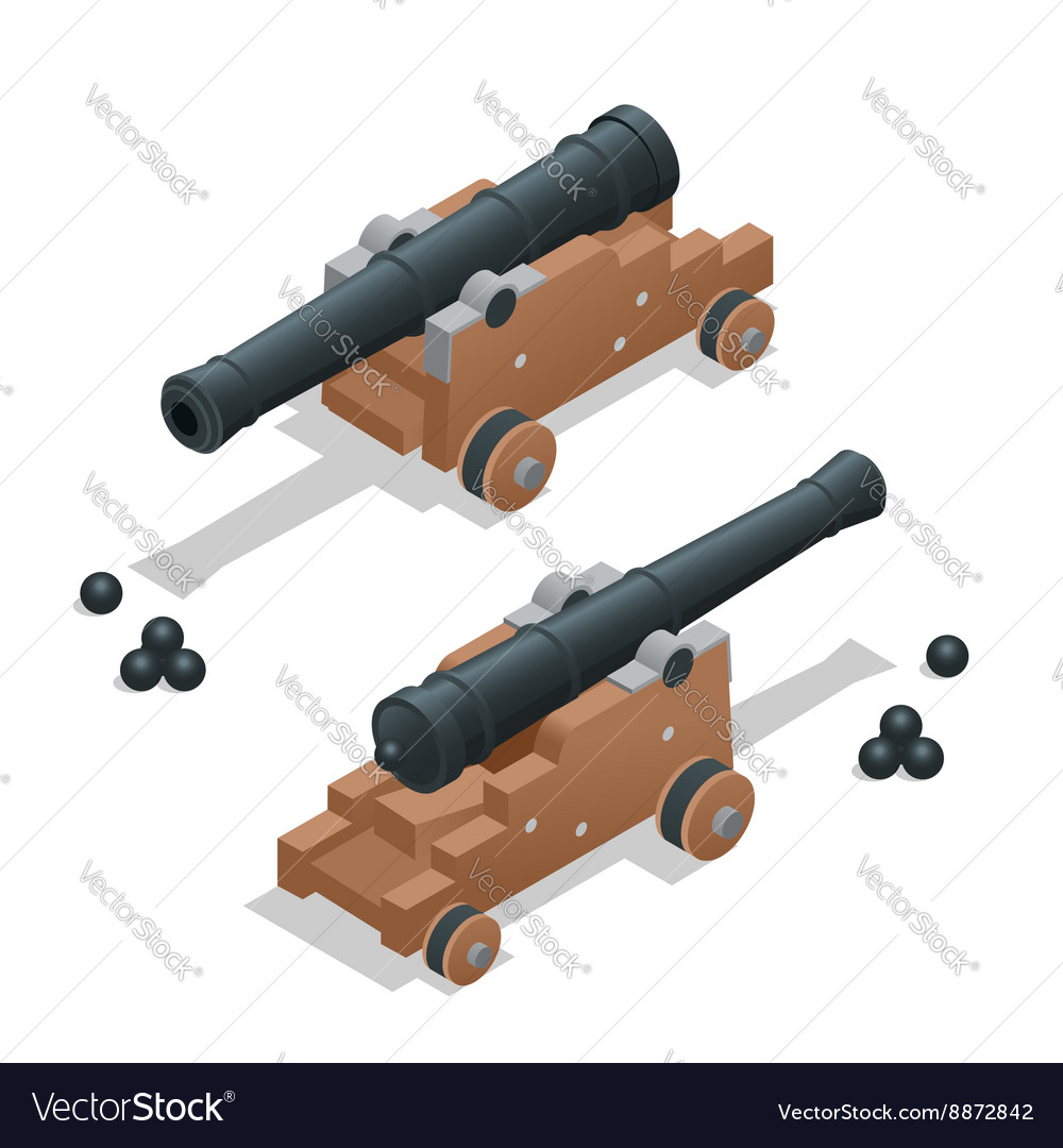 Ancient cannon with cannon balls artillery gun vector