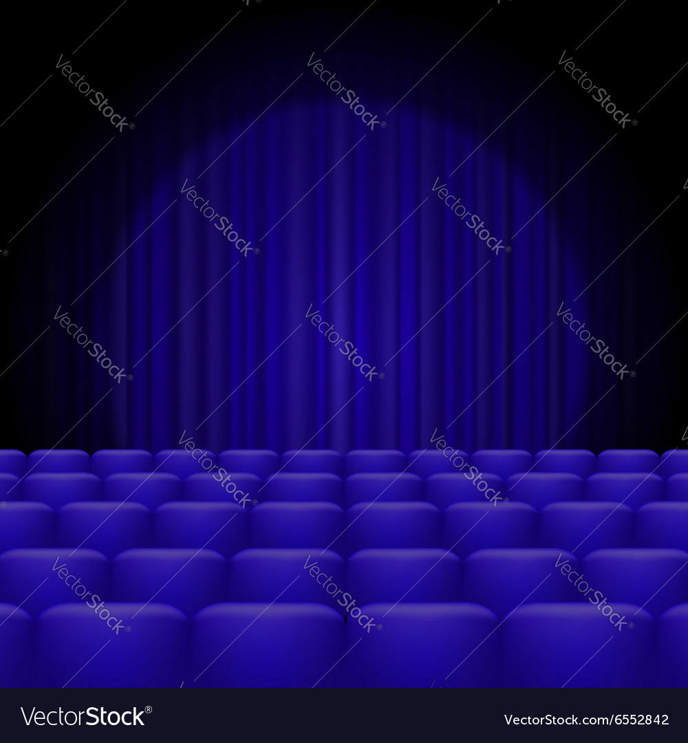 Blue curtains with spotlight and seats vector