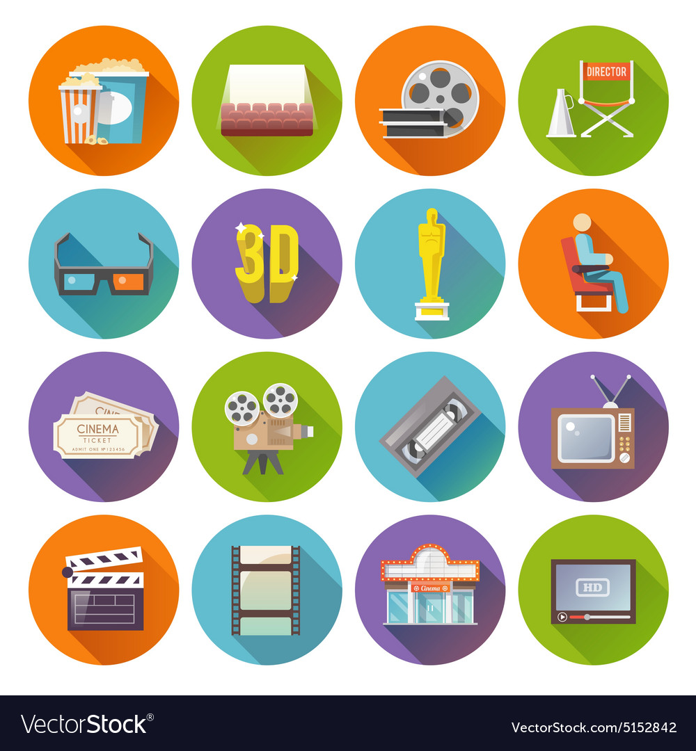 Cinema retro flat round icons set vector