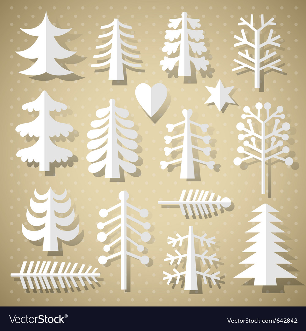 Cutting christmas trees vector
