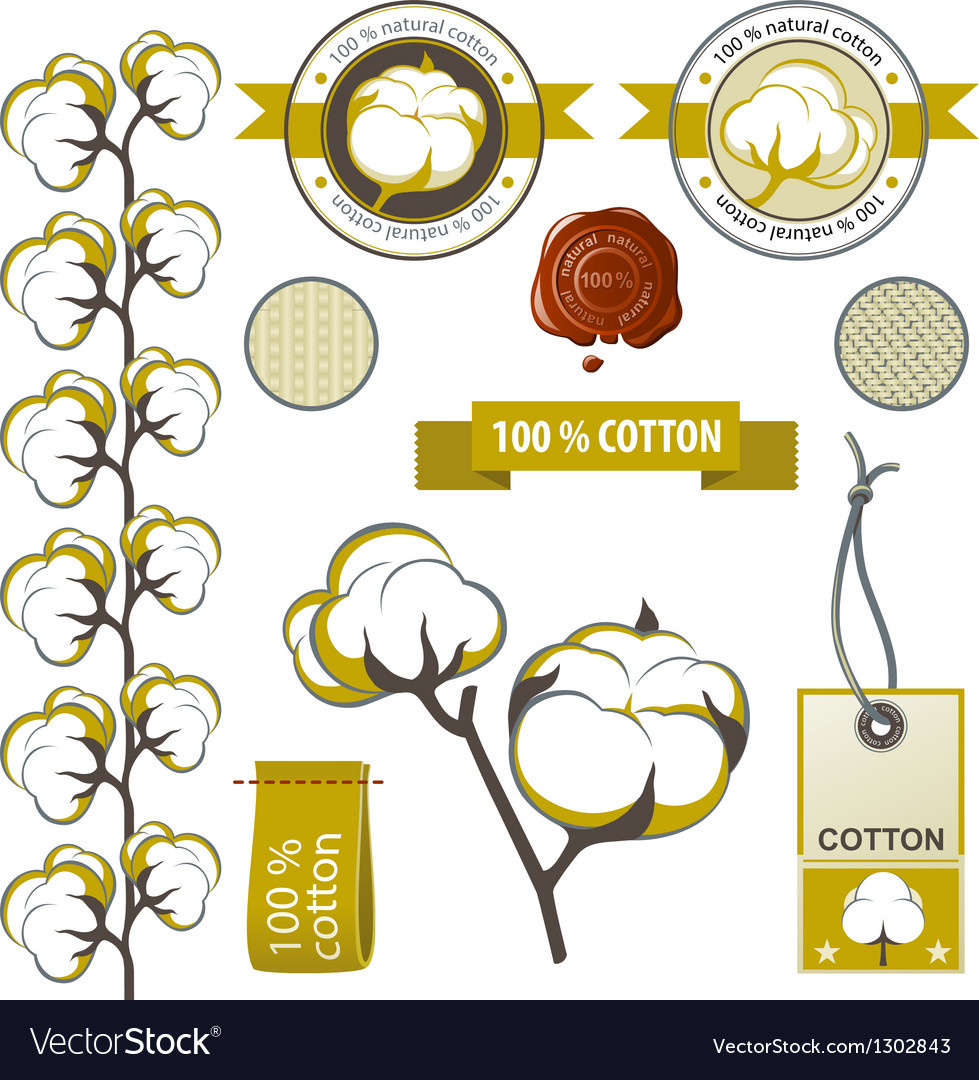 Cotton emblems vector
